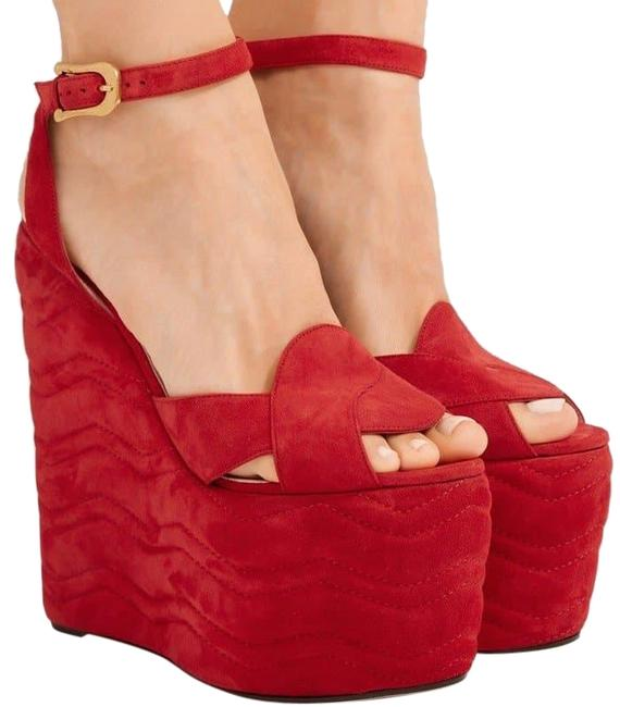 Item - Red Quilted Suede Wedge Sandals Platforms Size EU 41 (Approx. US 11) Regular (M, B)