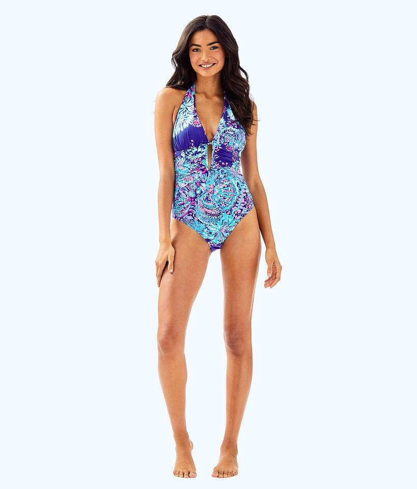 5be094516b Lilly Pulitzer Blue Lanai Halter One-piece Bathing Suit Size 2 (XS ...