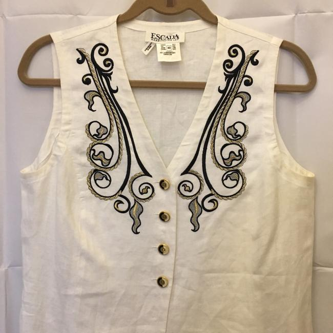 Escada Linen Embroidered Design Logo Buttons Size 10 M Medium Tunic Image 1