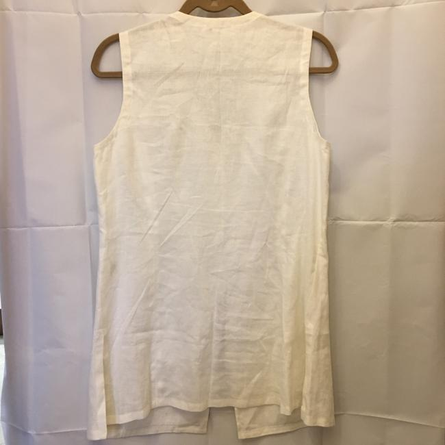 Escada Linen Embroidered Design Logo Buttons Size 10 M Medium Tunic Image 6