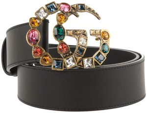 Gucci Multicolor Double G Crystal Embellished Buckle