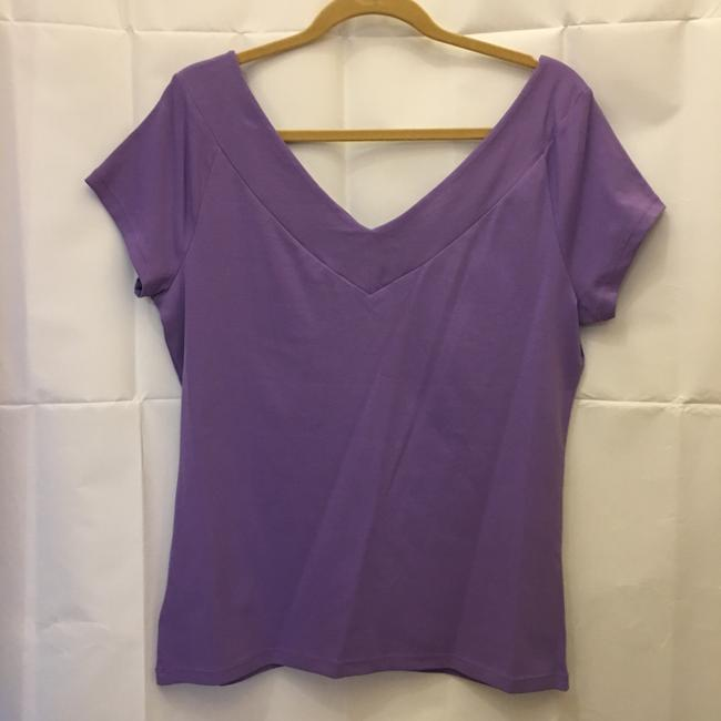 Lauren Ralph Lauren V-neck V-back Cap Sleeve New With Tags T Shirt Purple Image 6