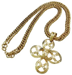 Chanel Chanel Vintage Gold Plated CC Logos Charm Chain Necklace