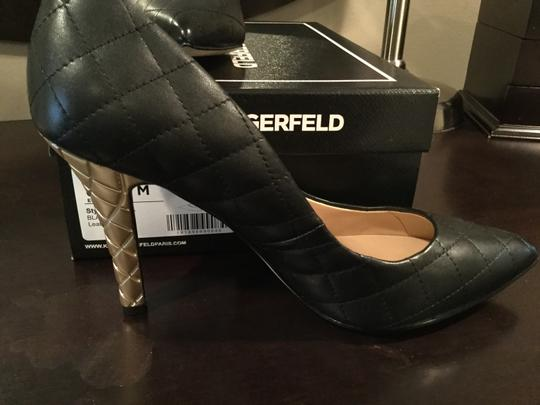 Karl Lagerfeld Black with gold heel Pumps Image 4