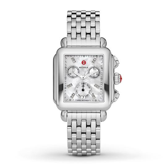 Michele Deco Stainless Mother Of Pearl Diamond Dial Mww06p000014 Image 9