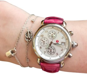 Michele Pink Alligator Leather Crystal Michele CSX Chronograph Watch