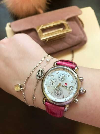 Michele Pink Alligator Leather Crystal Michele CSX Chronograph Watch Image 1