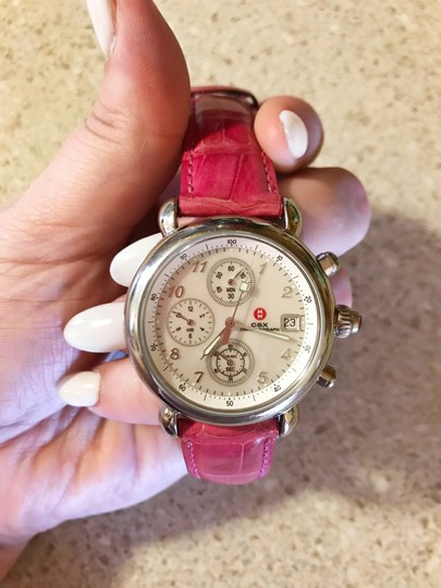 Michele Pink Alligator Leather Crystal Michele CSX Chronograph Watch Image 3