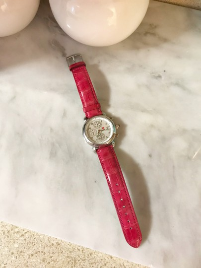 Michele Pink Alligator Leather Crystal Michele CSX Chronograph Watch Image 4