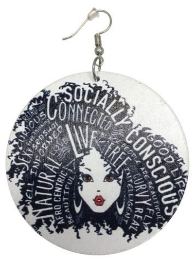NA Socially Conscious Wooden Earrings White Image 1