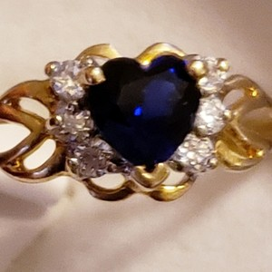 97f31a73d Kay Jewelers New 1 ctw Heart Genuine Blue Sapphire & 6 Diamonds 10K 1.3  Grams!
