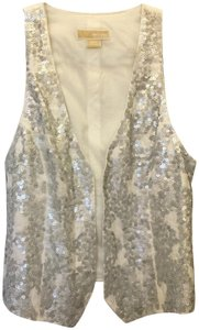 Michael Kors Linen Silver Sequins Size Sp Small Petite New With Tags Vest