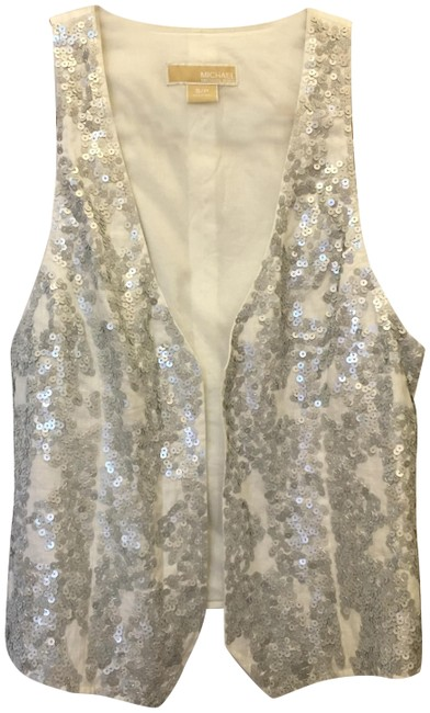 Michael Kors Linen Silver Sequins Size Sp Small Petite New With Tags Vest Image 0