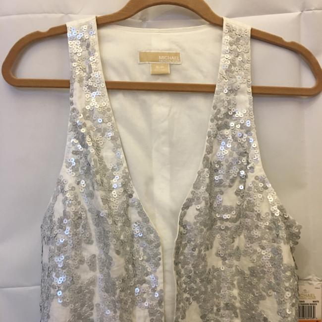 Michael Kors Linen Silver Sequins Size Sp Small Petite New With Tags Vest Image 1