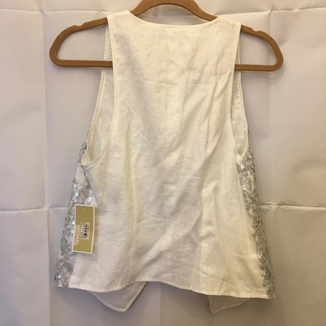 Michael Kors Linen Silver Sequins Size Sp Small Petite New With Tags Vest Image 6