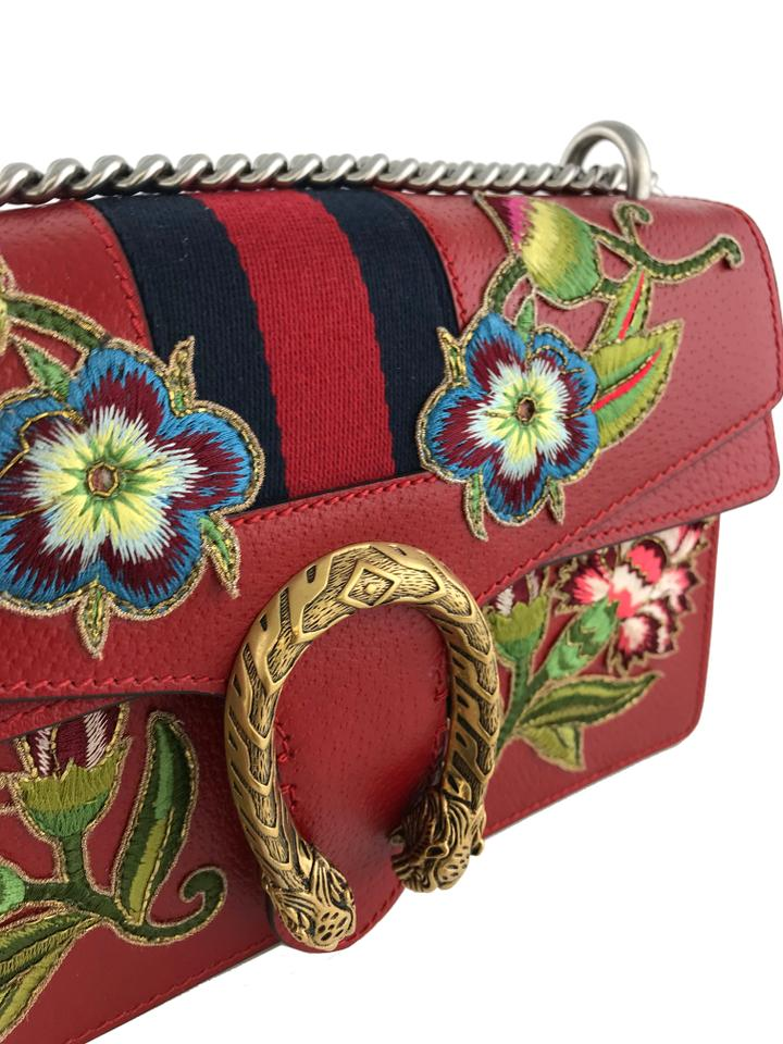 36a5e5367d9 Gucci Dionysus Small Floral Embroidered Red Calfskin Leather Shoulder Bag -  Tradesy