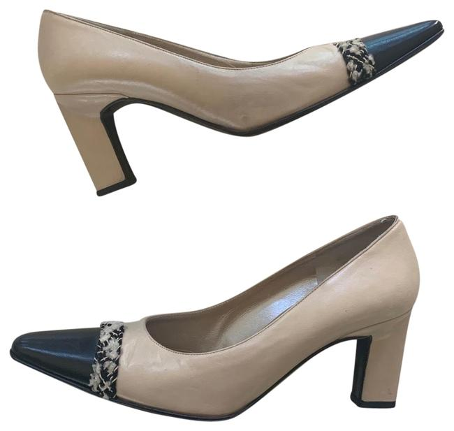 Item - Cream and Black Leather Tweed Capped Pumps Size US 5.5 Regular (M, B)
