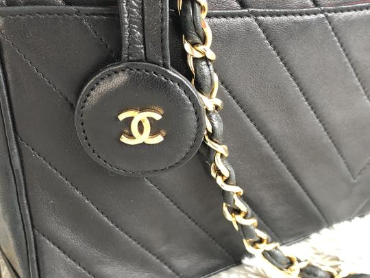Chanel Vintage Leather Luxury Tote in Dark Gray Image 2