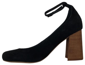 Jeffrey Campbell Free People Ankle Strap Heel Stacked Wood Black Pumps