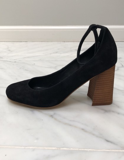 Jeffrey Campbell Free People Ankle Strap Heel Stacked Wood Black Pumps Image 1