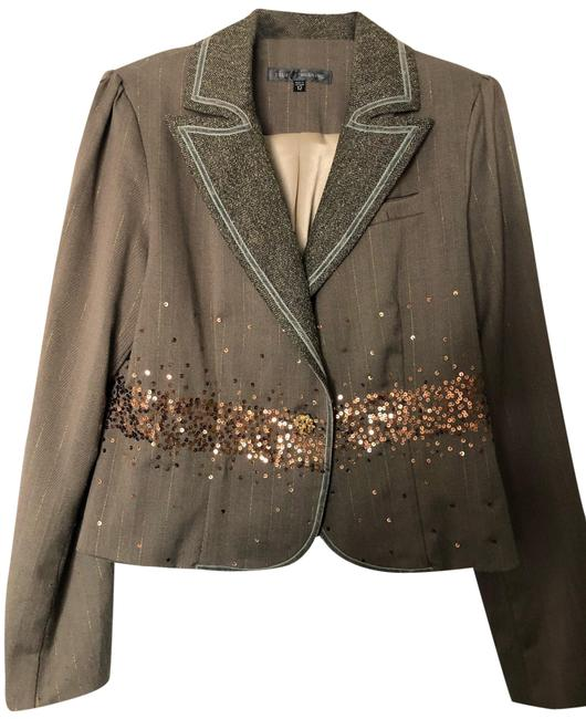 True Meaning Herringbone With Copper Sequins Blazer Size