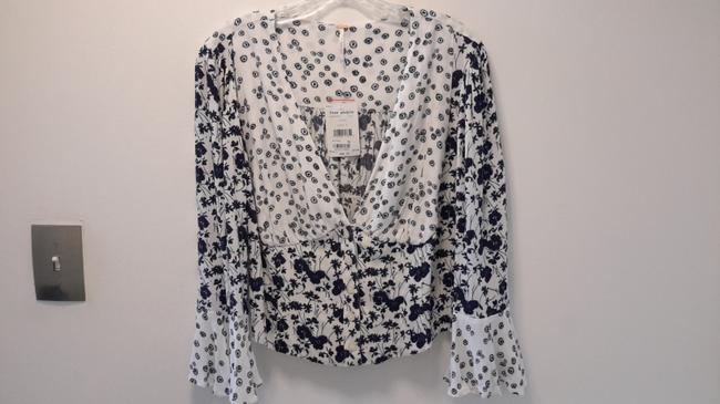 Free People Top Blue & White Image 2