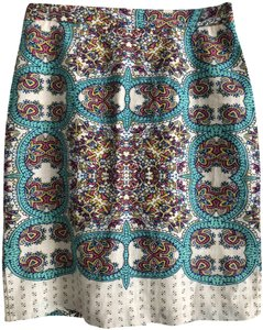 Anthropologie Printed Skirt teal and white print