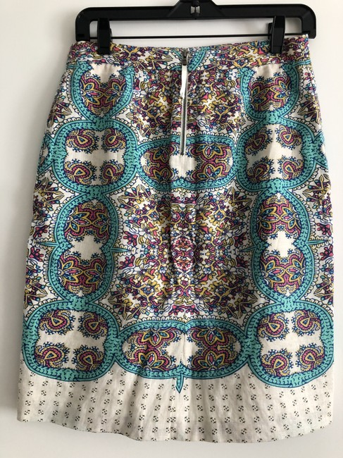 Anthropologie Printed Skirt teal and white print Image 1