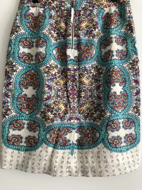 Anthropologie Printed Skirt teal and white print Image 2