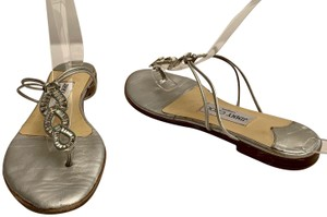 Jimmy Choo Strappy Flip Flops Crystal Jeweled Silver Sandals