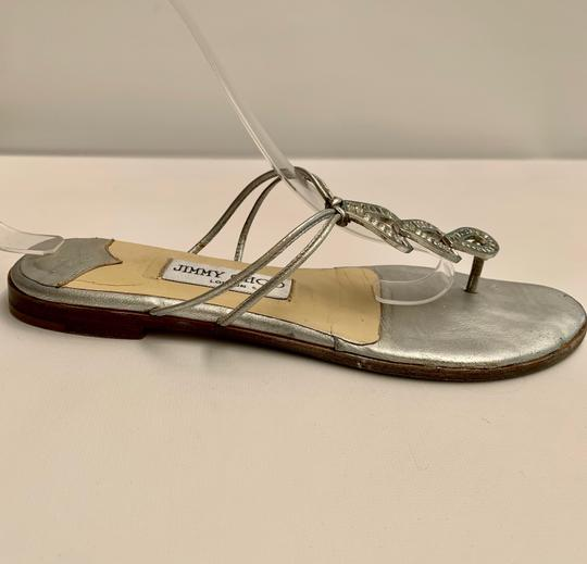 Jimmy Choo Strappy Flip Flops Crystal Jeweled Silver Sandals Image 1