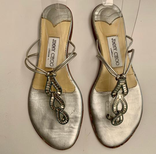 Jimmy Choo Strappy Flip Flops Crystal Jeweled Silver Sandals Image 2