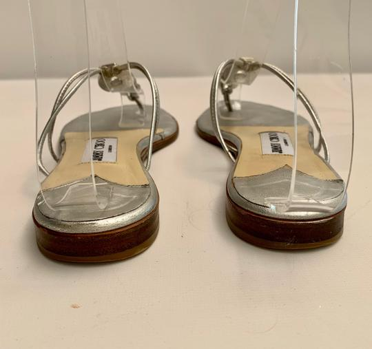 Jimmy Choo Strappy Flip Flops Crystal Jeweled Silver Sandals Image 3