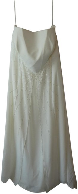 Item - White Wedding Strapless Beaded Sequins Long Formal Dress Size 24 (Plus 2x)