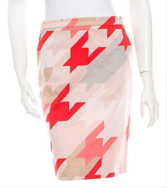 Item - Pink Red Beige Houndstooth Logo Zip Pencil Skirt Size 2 (XS, 26)