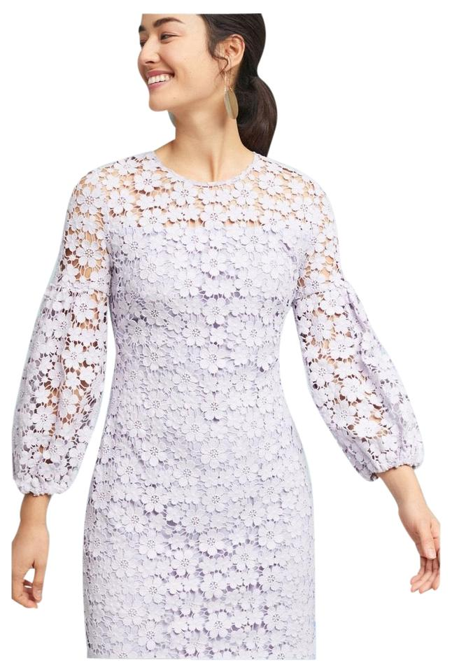 Shoshanna Orchid Lilac Light Lavender Vina Lace From Spring 2018 Collection Shift Silhouette With Scalloped Hem Line Lovely Cotton Lace Short