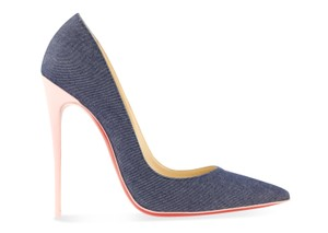 Christian Louboutin Denim Patent Leather Blue Pumps