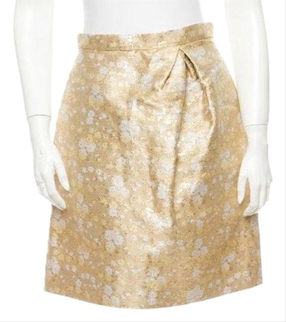 Item - Gold White A-line Brocade Skirt Size 6 (S, 28)