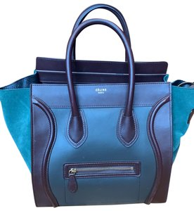 Céline Tote in brown, maroon and green turquoise