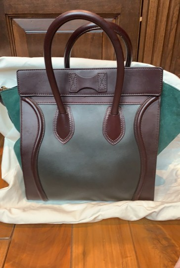 Céline Tote in brown, maroon and green turquoise Image 2