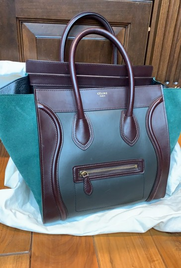 Céline Tote in brown, maroon and green turquoise Image 4