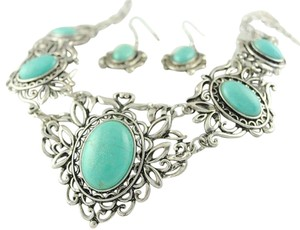 Other Silver and Turquoise Bib Necklace/Earring Set