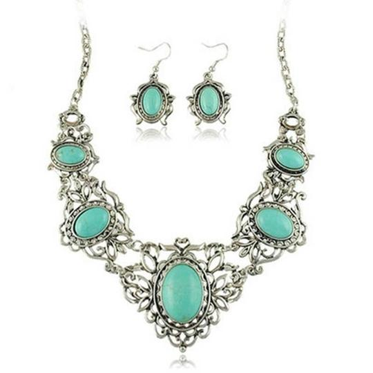 Other Silver and Turquoise Bib Necklace/Earring Set Image 1