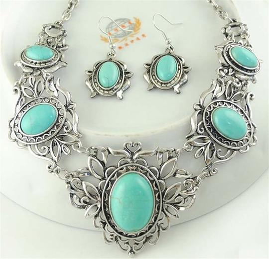 Other Silver and Turquoise Bib Necklace/Earring Set Image 2