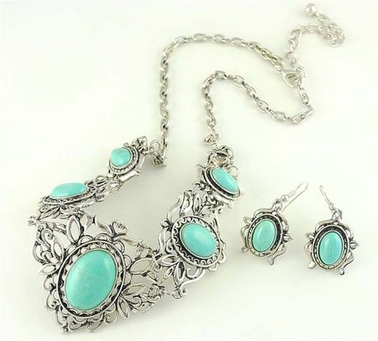 Other Silver and Turquoise Bib Necklace/Earring Set Image 3