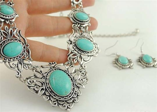 Other Silver and Turquoise Bib Necklace/Earring Set Image 4