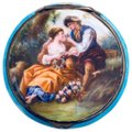 Antique Italian 800 Silver Enamel Compact Antique Italian 800 Sterling Silver and Enamel Hand Painted Victorian Style Couple in Love Courting Image 0