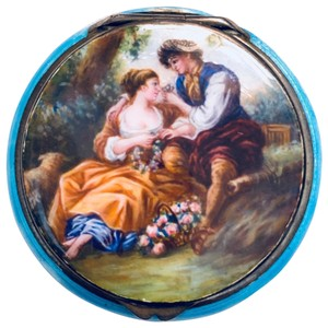 Antique Italian 800 Silver Enamel Compact Antique Italian 800 Sterling Silver and Enamel Hand Painted Victorian Style Couple in Love Courting