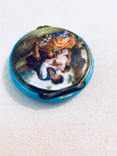 Antique Italian 800 Silver Enamel Compact Antique Italian 800 Sterling Silver and Enamel Hand Painted Victorian Style Couple in Love Courting Image 2