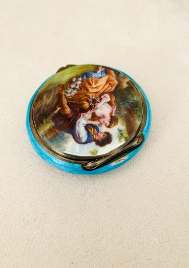 Antique Italian 800 Silver Enamel Compact Antique Italian 800 Sterling Silver and Enamel Hand Painted Victorian Style Couple in Love Courting Image 5
